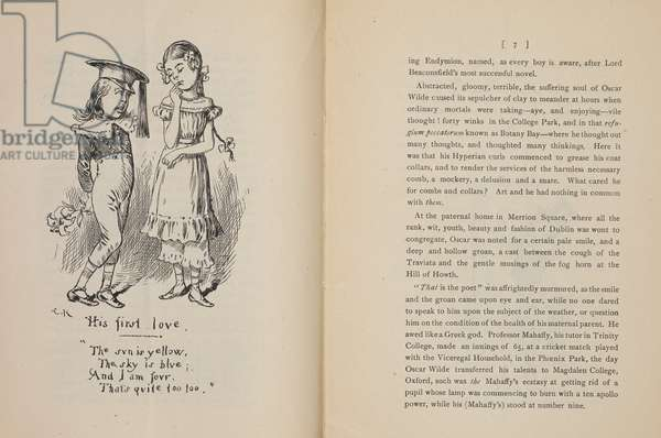 His first love ..'.. A caricature of Oscar Wilde, as a young boy, with a young girl.