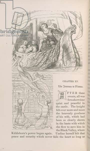 The journey to Vienna. A group on board a ship. Wood-engraving after John Tenniel