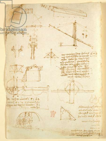 Arundel 263 f.231v, Notes and sketches on mechanics, from 'Codex Arundel' (pen & ink on paper)