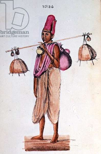 Benairs Bangy man from 'A Digest of  the different Castes of India', by Venkata Ramasvani, published Madras 1837 (colour litho)