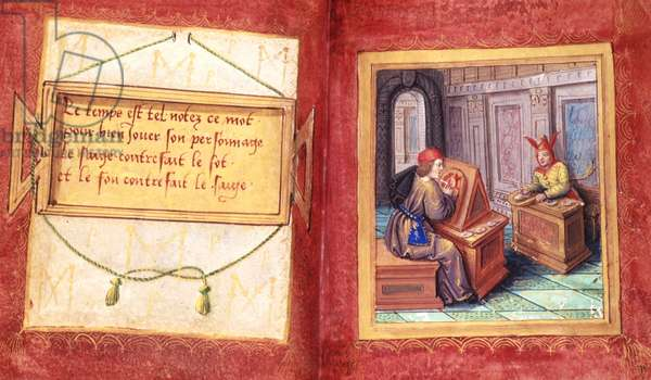 Stowe 955 ff.9v-9a The Wise Man and the Fool, from the 'Petit Livre d'Amour' by Pierre Sala, c.1500 (vellum)