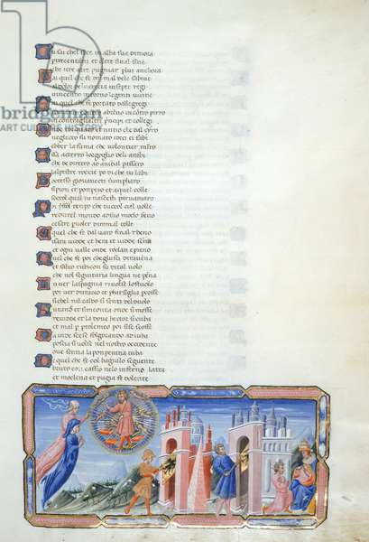 Paradiso, Canto VI. Miniature shows Beatrice and Dante hovering before Justinian within the Heaven of Mercury. Justinian gives Dante an account of the history of the Roman Empire. Aeneas carries the imperial standard through the gates of Rome; Constantine carries the same standard through the gates of Byzantium; Justinian kneels before Pope Agapetus