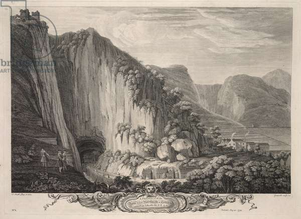 'A Prospect of the Rocks & that Vast Cavern at Castleton call'd Peak-hole', 1743 (engraving)