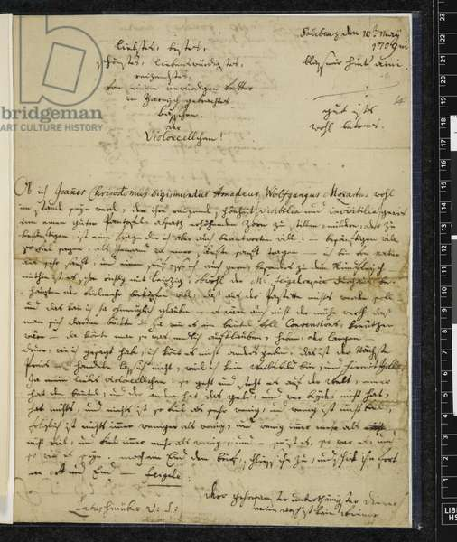 Zweig 67 f.1 Letter to Maria Anna Thekla Mozart, 1779 (ink on paper)