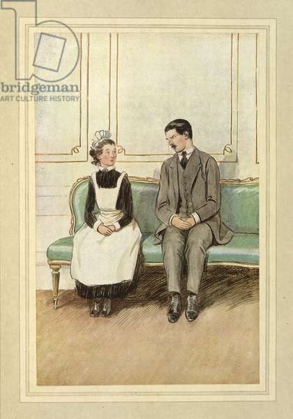 Lord Loam and a maid, seated, from 'The Admirable Crichton' by J. M. Barrie, 1914 (colour litho)