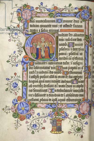 Add. 42131 fol.151v Beginning of Psalm 80; initial 'E': marriage of David and Michal, both crowned, from the Bedford Psalter and Hours, 1414-35 (vellum)