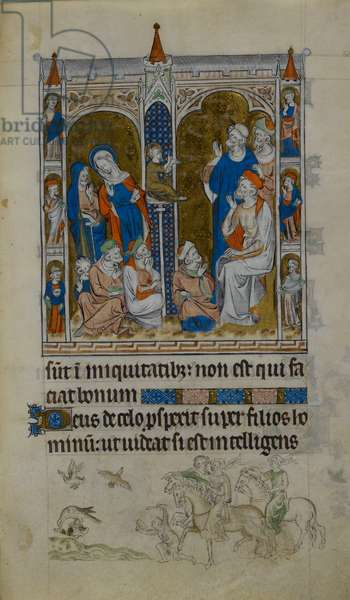 Royal 2 B.VII, f.151, Christ in the Temple speaking with the Doctors, illustration from the 'Queen Mary Psalter', 1310-20 (vellum)