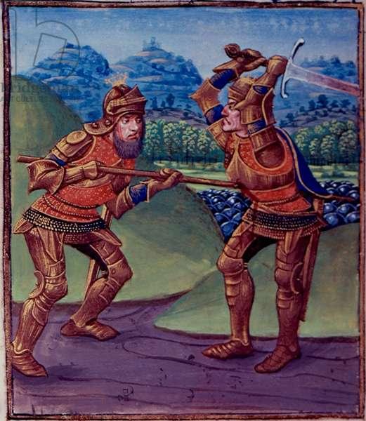 Ms Royal 14 E. V fol.439v Mordred Kills Arthur, from 'Des Cas des Nobles Hommes et Femmes Maleureux' translated by Laurens de Premierfait, 1470-83 (vellum)