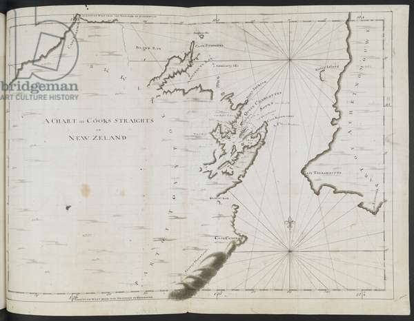 Add MS 7085 No.30 A chart of Cook's Straits, in New Zealand; drawn by Lieut. James Cook, on a large scale (pen & ink on paper)