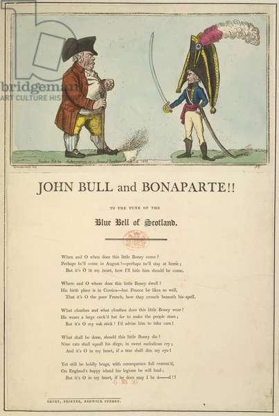John Bull and Bonaparte, 1803 (colour litho)