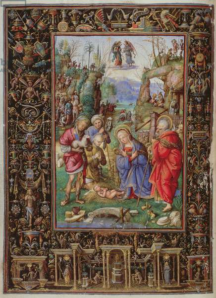 Yates Thompson 29 f.15b-16 Adoration of the Shepherds, from the 'Hours of Bonaparte Ghislieri', Bologna, c.1500 (vellum)