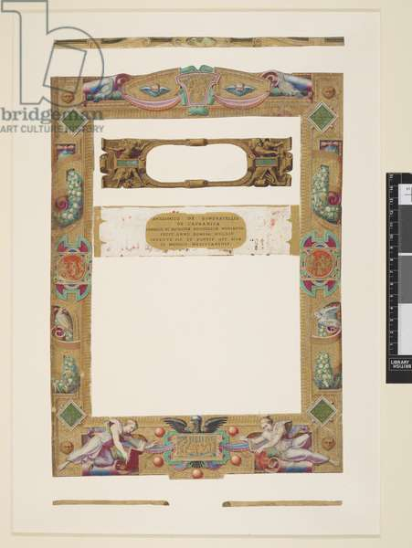 Add MS 21412 Pius IV Box 5 f.81 'A collection of miniatures and borders cut from Italian manuscripta...' (ink, colour & gold on paper)