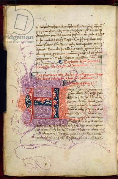 Burney 252, f. 4v, Puzzle initial 'A'(nneus), at the beginning of the Spanish translation of Pseudo-Seneca's Epistolae to Paul (vellum)