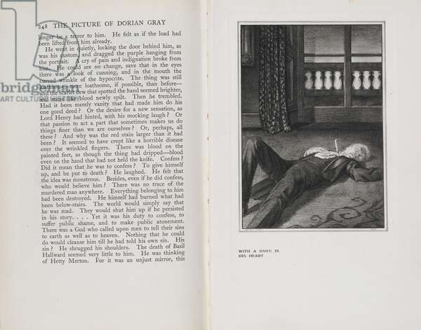 The Dead Body of Dorian Gray, illustration from 'The Picture of Dorian Gray', by Oscar Wilde, 1925 (litho)
