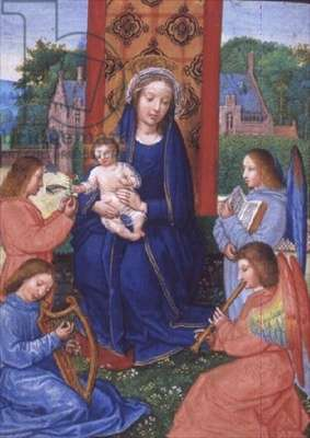 Eg 2125 f.157v Madonna and Child with angels playing instruments, from the Hours of Joanna of Ghistelles, c.1516 (vellum)
