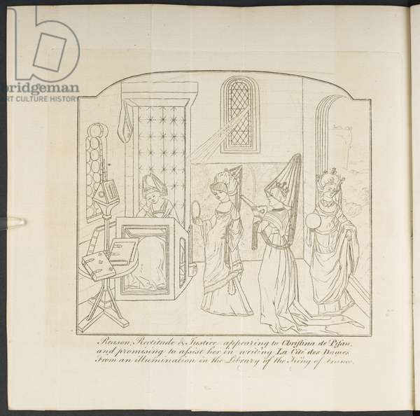 'Reason, Rectitude and Justice appearing to Christine de Pizan and promising to assist her in writing La Cite des Dames...', 'Postscript to the royal and noble authors' by Horace Walpole, 1786 (litho)