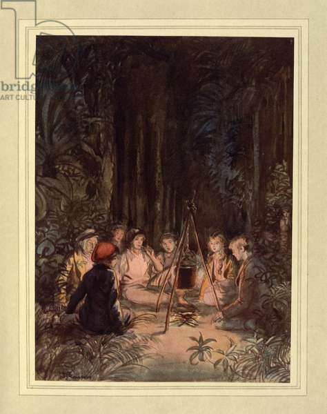 Around a fire, from 'The Admirable Crichton' by J. M. Barrie, 1914 (colour litho)
