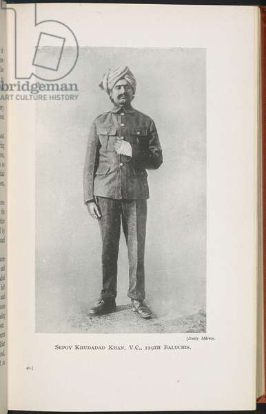 Sepoy Khudadad Khan, V.C., illustration from 'The Indian Corps in France...', by John Walter Beresford Mereweather, 1917 (b/w photo)