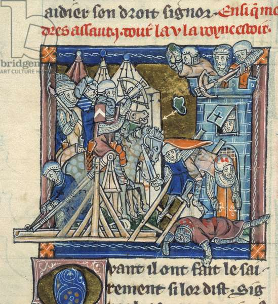 Add 10294 f.81b Mordred besieging the Tower of London, Flanders (vellum)
