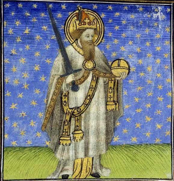 Portrait de Charlemagne (742 - 814), Roi de France.Miniature du 15eme siècle.Vers 1415. Harl 2952. Folio No: 62v (detail).British Library. ©The British Library Board/Leemage