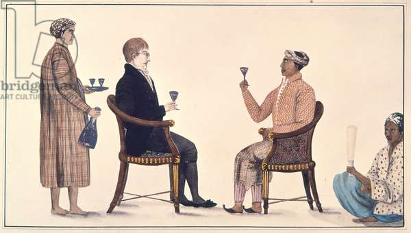 Javanese Grandee and a Dutchman, from an 'Album of 116 Drawings made under the Supervision of Colin Mackenzie (1754-1821) in Java' c.1811-13 (colour litho)