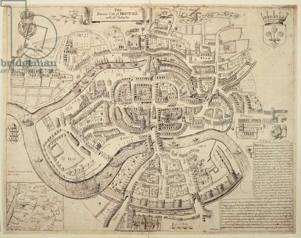 Ancient City Map of Bristol and its Suburbs, printed, coloured and sold by Robert Walton, 1671 (engraving)