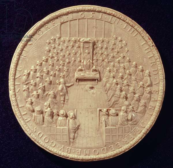 The Great Seal of England, 1651, the second seal used by the Commonwealth, showing the House in session,with the House of Commons on the reverse