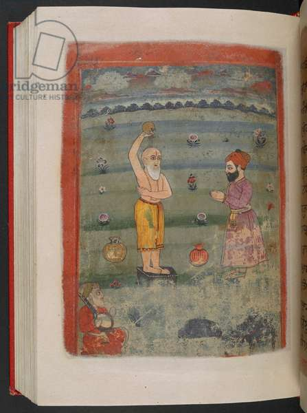 MS Panj B 40, f.214v, illustration from the 'Biography of Guru Nanak', 1733 (vellum)