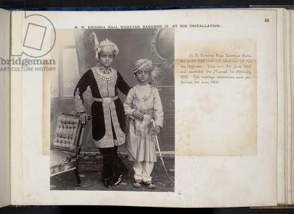 Portrait of H.H. Sri Krishna Raja Wodeyar Bahadur IV and Prince Kantirava Narasimharaja Wodeyar of Mysore, 1895 (b/w photo)