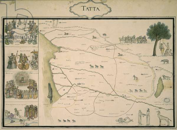 Add.Or.4039, f.37 Map of Tatta, from 'An Album illustrating the Provinces of the Mughal Empire', compiled by Colonel Jean-Baptiste Gentile, 1770 (w/c & ink on paper)