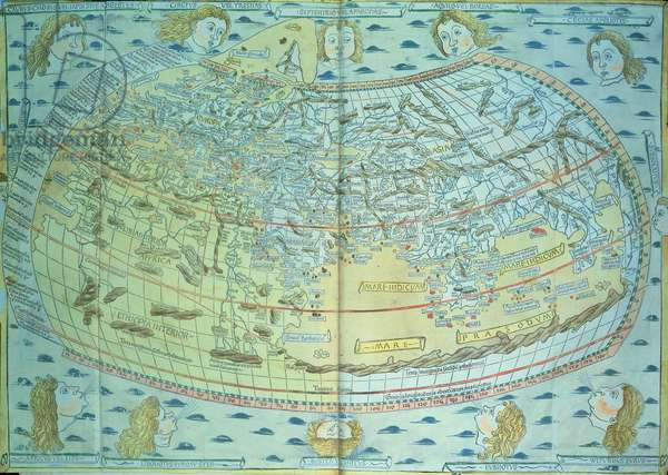 Map of the world, 15th century, reprinted by Martell in 1863 (engraving)