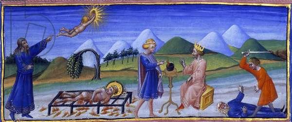 "La """"Divine Comedie"""" de Dante Alighieri : le Paradis, chant 4. Le Ciel de la Lune. Platon est represente sur la gauche pointant du doigt une etoile, tandis qu'une ame retourne a son etoile selon la theorie avancee par le philosophe grec. Au loin, un arbre courbe, au premier plan, saint Laurent sur le gril. Au centre, en bleu, Mutius Scaevola pose sa main droite sur les charbons allumes sur un autel. Face a lui se trouve le roi Porsenna. A droite  Alemaeon de Croton eventre sa mere qui git sur le sol. Miniature de Giovanni di Paolo (1403-1482), vers 1450. The British Library Institution Reference: Shelfmark ID: Y.T. 36 Folio No: 136 (detail) Heaven of the moon, first half of 15th century. On the left the soul returns to her star, according to the doctrine of Plato, seen bearded and dressed as a medieval astrologer pointing to the star. In the background is a bent tree and, in the foreground, St Lawrence on the gridiron. In the centre, Mutius Scevola, in blue tunic and purple mantle, holds his right hand in a flaming vessel on a tripod. Seated on a throne facing him is Lars Porsena with crown and sceptre. To the right, Alemaeon, in red tunic and with uplifted sword, slays his mother who, dressed in blue, lies bleeding on the ground. From a copy of Dante's """"The Divine Comedy"""", Paradise, Canto 4. ©The British Library Board/Leemage"
