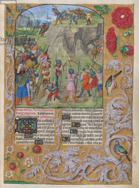 Psalter, with Canticles, Gradual Psalms, the Athanasian Creed, and Litany. David being cursed by Shimei (Psalm 38). Border decorated with flowers and birds. Two columns of text with initials.