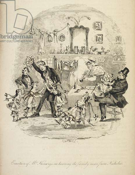 Illustration with the title 'emotion of Mr Kenwig on hearing the family news from Nicholas'.
