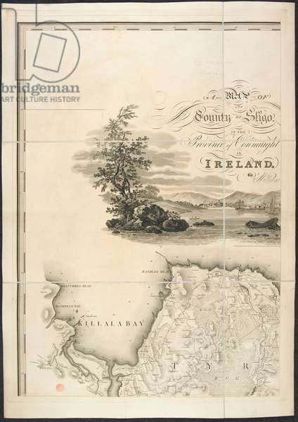 Picture of a bay and a map of Killala bay.