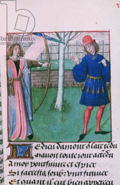 Harl 4425 God of Love aiming at lovers, from the 'Roman de la Rose', Bruges, c.1490-1500 (vellum)