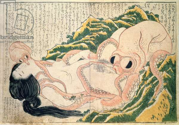 Awabi fisher and octopus, (colour woodblock print)