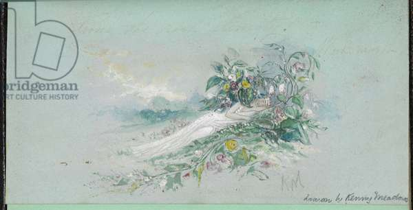 F.7: A woman among flowers, from a 'Sketch book with scenes from Charles Dickens stories' (w/c on paper)