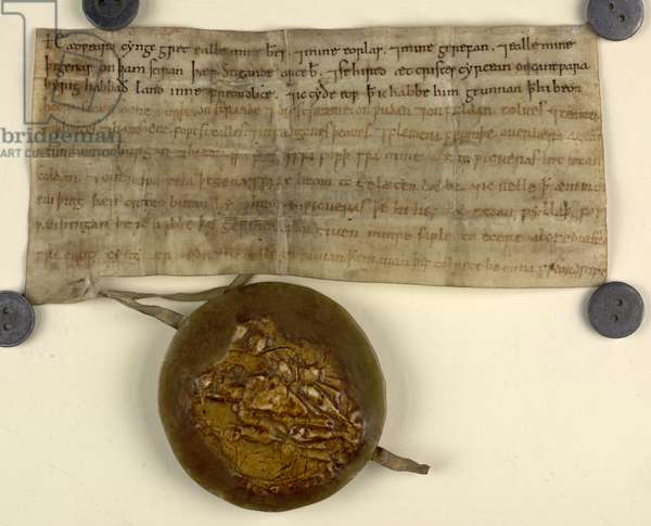 Writ of Edward the Confessor with seal: Lord Frederick Campbell Charter XXI 5, England, 2nd half of 11th century (parchment & wax seal)
