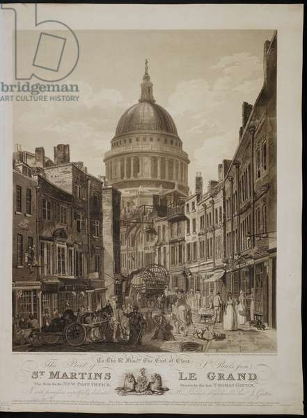 St Paul's from St Matin's Le Grand, the site for the New Post Office