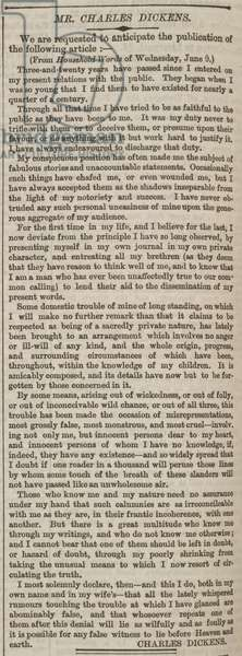 Newspaper article by Charles Dickens.