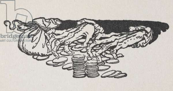 Illustration of Scrooge's hands counting money