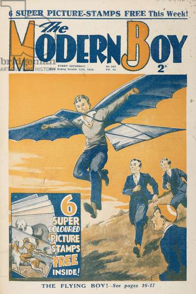 Front cover. 'The flying boy.' A boy trying to fly.The Modern Boy15 October 1932