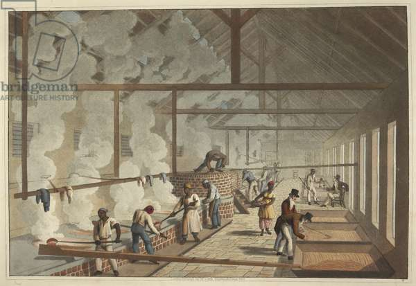 Slaves Ladle Steaming Juice from Vat to Vat, Antigua, 1823 (print)