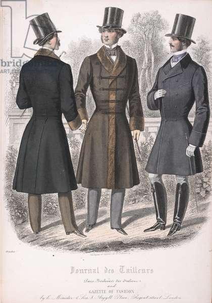 Three men wearing coats and top hats.