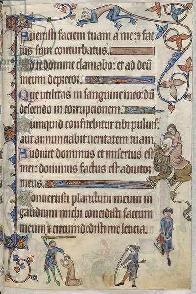 Add. 42130, f.56, Psalm 29, Execution of Thomas of Lancaster, from 'Luttrell Psalter', c.1325-35 (vellum)