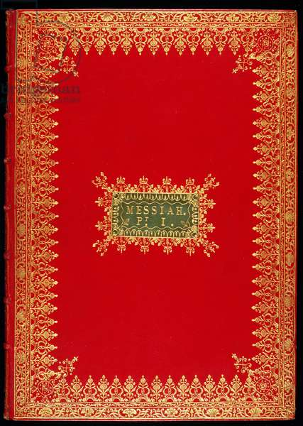 Cover of the Messiah by George Frederick Handel (1685-1759) (red leather with embossed gold decoration)