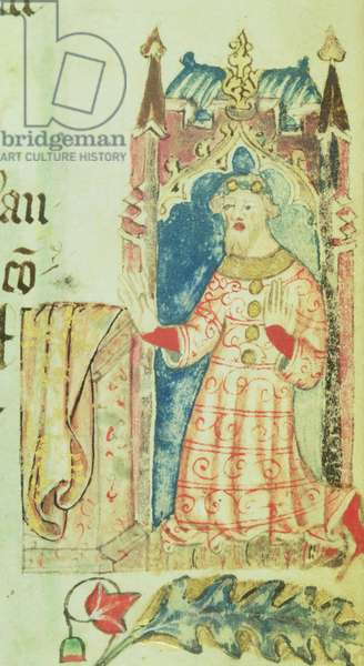 Cott Nero D VII f.7 Portrait of John of Gaunt, Duke of Lancaster, from the Benefactors Book of St. Alban's Abbey, c.1380 (vellum)