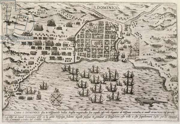 Plan of Drake's attack on Santo Domingo, c.1595 (engraving)