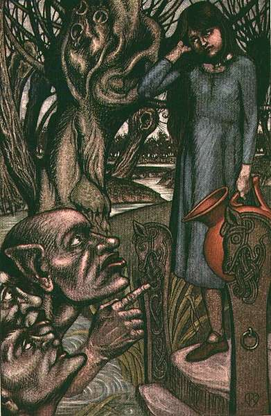 The Bushy Bride from 'Tales from the Norse' (colour litho)